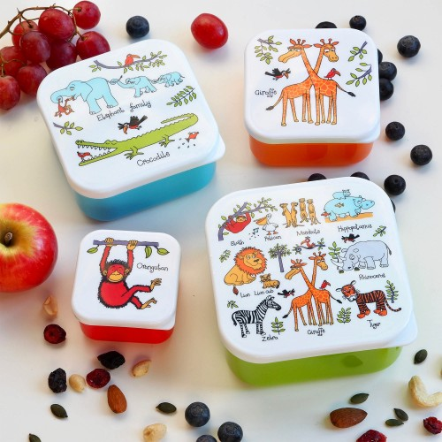 Set of 4 Jungle Snack Boxes for Kids