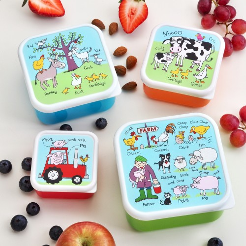 Set of 4 Farm Snack Boxes For Kids