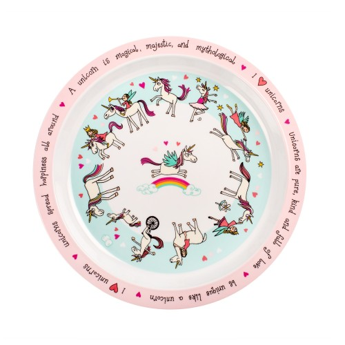 Unicorns Design Melamine Plate