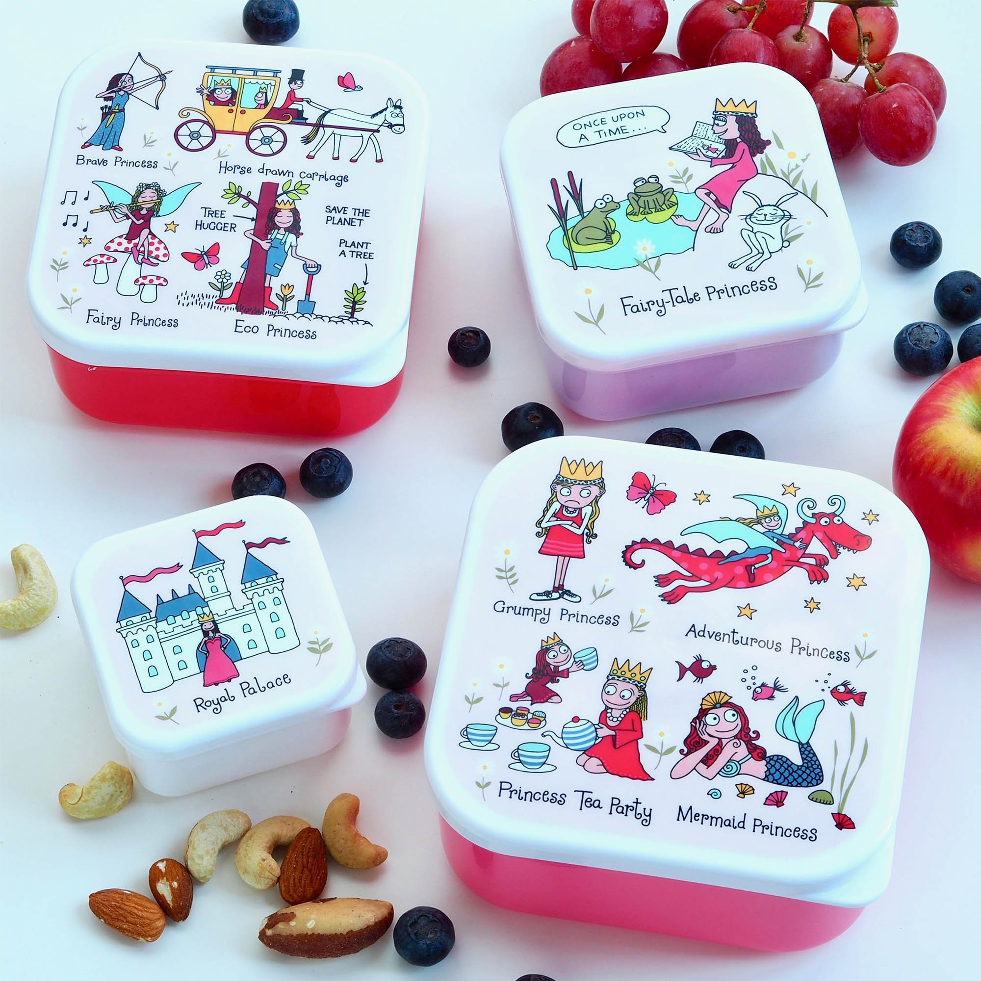 Set of 4 Princess Snack Boxes for Kids