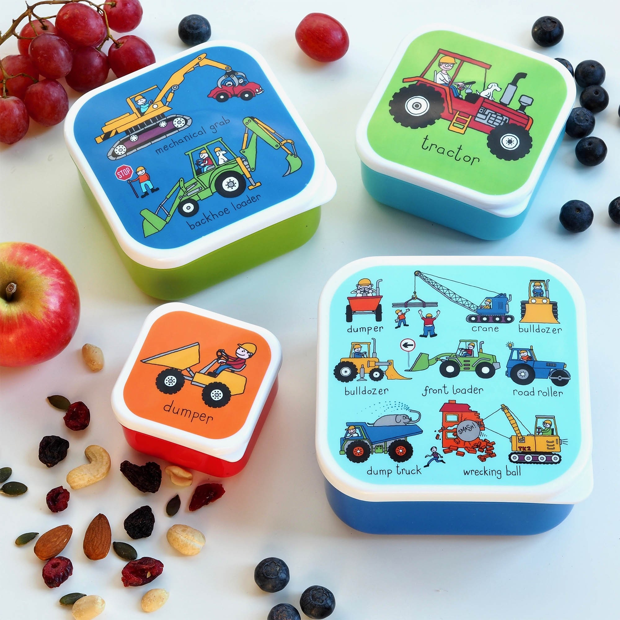 Set of 4 Trucks Snack Boxes for Kids
