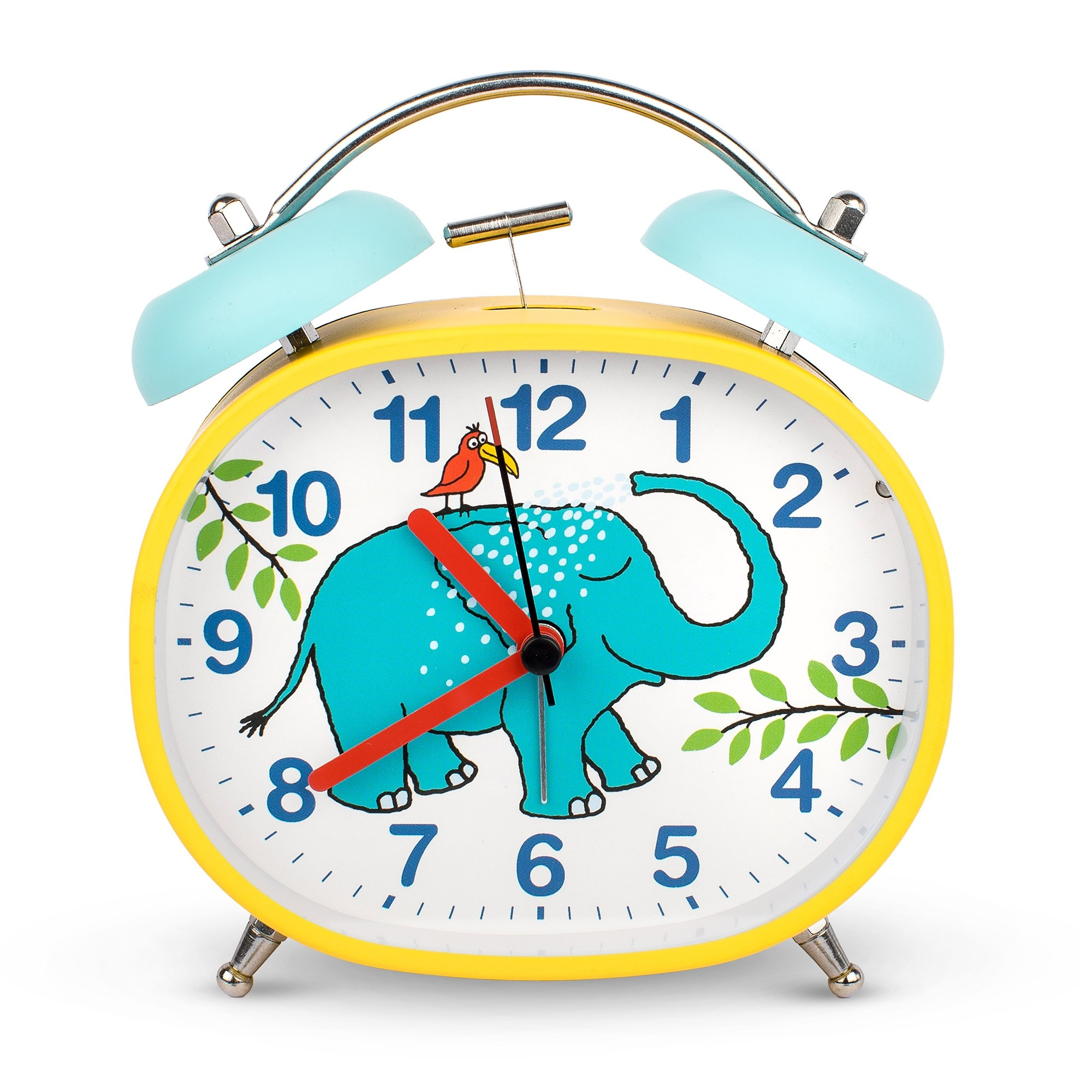 Elephant Design Children's Alarm Clock · Twin Bell · Silent Tick