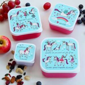 Set of 4 Unicorns Snack Boxes for Kids