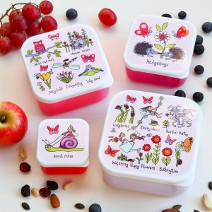 Set of 4 Secret Garden Snack Boxes for Kids