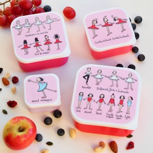 Set of 4 Ballet Snack Boxes for Kids