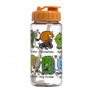 Monsters Design Drinking Bottle with straw