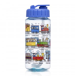 Trains Design Drinking Bottle with straw