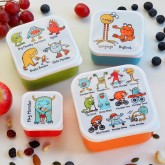 Set of 4 Monsters Snack Boxes for Kids