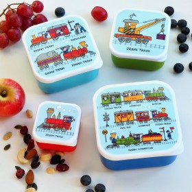 Set of 4 Trains Snack Boxes for Kids