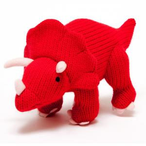 Best Years Knitted Red Triceratops Soft Toy