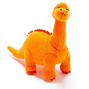 Best Years Knitted Orange Diplodocus Soft Toy