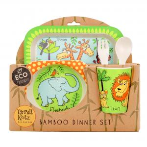 Jungle Design 5pc Bamboo Dinner Set For Children