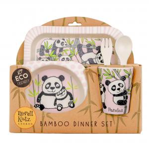Pandas Design 5pc Bamboo Dinner Set For Children