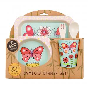 Secret Garden Design 5pc Bamboo Dinner Set For Children
