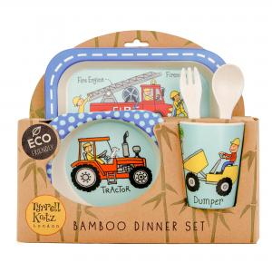 Trucks Design 5pc Bamboo Dinner Set For Children