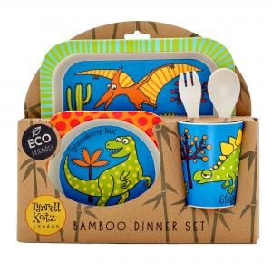 Dinosaur Design 5pc Bamboo Dinner Set For Children