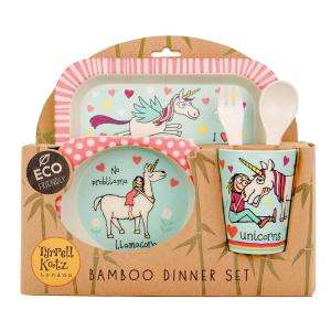 Unicorns Design 5pc Bamboo Dinner Set For Children