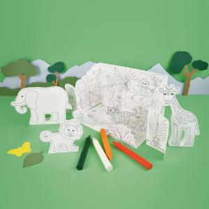 Colour In Pop Up Jungle Play Scene
